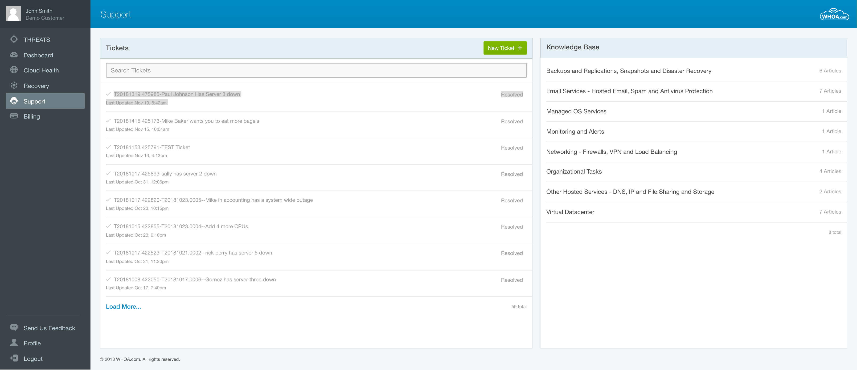 Support system and Knowledge Base built into the Whoa platform